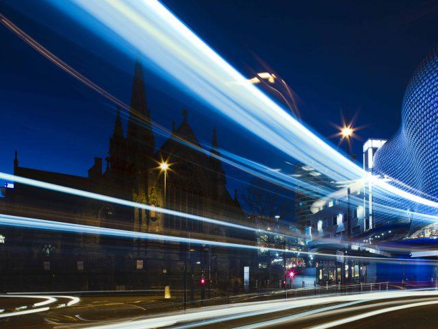 Night time light trails through Birmingham